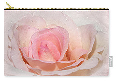 Blush Pink Dewy Rose Carry-all Pouch by Phyllis Denton