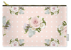 Blush Pink Floral Rose Cluster W Dot Bedding Home Decor Art Carry-all Pouch