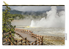 Carry-all Pouch featuring the photograph Boardwalk Overlooking Spasm Geyser by Sue Smith