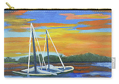 Carry-all Pouch featuring the painting Boat Adrift by Margaret Harmon