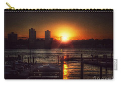 Carry-all Pouch featuring the photograph Boat Basin Gold - Sunset In New York by Miriam Danar