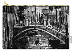 Carry-all Pouch featuring the photograph Boat On The River-bw by Okan YILMAZ