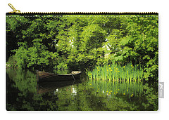 Boat Reflected On Water County Clare Ireland Painting Carry-all Pouch