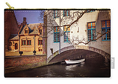 Carry-all Pouch featuring the photograph Boat Under A Little Bridge In Bruges  by Carol Japp