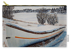 Carry-all Pouch featuring the painting Boat Under Snow by Marilyn  McNish