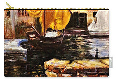 Boat With Golden Sail,san Vigilio  Carry-all Pouch by Cristina Mihailescu