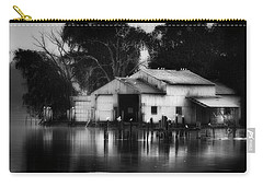 Carry-all Pouch featuring the photograph Boathouse Bw by Bill Wakeley