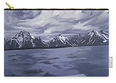 Carry-all Pouch featuring the painting Boating Jenny Lake, Grand Tetons by Erin Fickert-Rowland