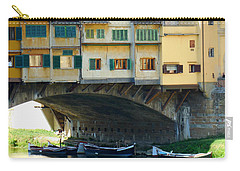 Boats Beneath The Ponte Vecchio Carry-all Pouch by Valerie Reeves