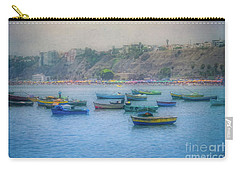 Carry-all Pouch featuring the photograph Boats In Blue Twilight - Lima, Peru by Mary Machare