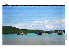 Boats In Sleeping Bear Bay Wood Texture Carry-all Pouch by Dan Sproul