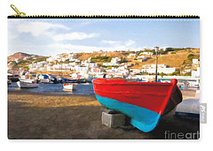 Carry-all Pouch featuring the photograph Boats Of Mykonos by Mel Steinhauer