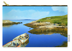 Boats Waiting In Calm Waters Carry-all Pouch by Ken Morris