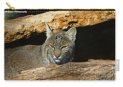 Bobcat Hiding In A Log Carry-all Pouch