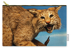 Carry-all Pouch featuring the digital art Bobcat On A Branch by Chris Flees