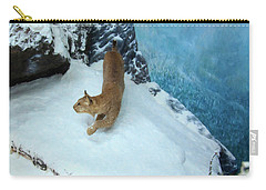 Carry-all Pouch featuring the digital art Bobcat On A Mountain Ledge by Chris Flees