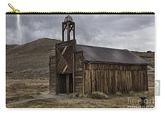 Carry-all Pouch featuring the photograph Bodie Fire Station With Lightning by Sandra Bronstein