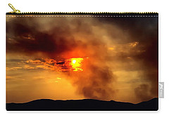 Carry-all Pouch featuring the photograph Bogart Fire Sunset by Chris Tarpening
