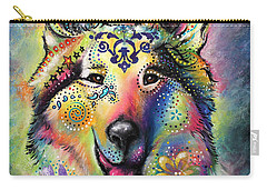 Carry-all Pouch featuring the pastel Collie by Patricia Lintner