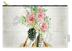 Carry-all Pouch featuring the painting Boho Western Arrows N Feathers W Wood Macrame Feathers And Roses Aim High by Audrey Jeanne Roberts