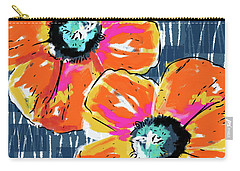 Bold Orange Poppies- Art By Linda Woods Carry-all Pouch by Linda Woods