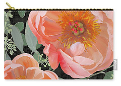 Bold Peony Seeded Eucalyptus Leaves Carry-all Pouch by Audrey Jeanne Roberts
