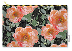 Carry-all Pouch featuring the painting Bold Peony Seeded Eucalyptus Leaves Repeat Pattern by Audrey Jeanne Roberts