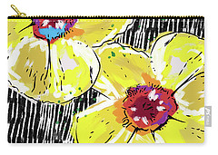 Carry-all Pouch featuring the mixed media Bold Yellow Poppies- Art By Linda Woods by Linda Woods