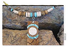 Bone Sun/moon Set In Gourd Wood #r115 Carry-all Pouch by Barbara Prestridge