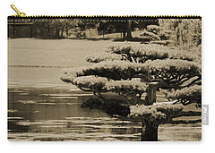 Bonsai Tree Near Pond In Sepia Carry-all Pouch
