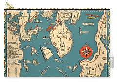 Boothbay Harbor And Vicinity - Vintage Illustrated Map - Pictorial - Cartography Carry-all Pouch