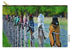 Carry-all Pouch featuring the photograph Boots On The Fence by Linda Unger