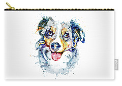 Carry-all Pouch featuring the mixed media Border Collie  by Marian Voicu