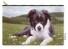 Border Collie Puppy Painting Carry-all Pouch by Rachel Stribbling