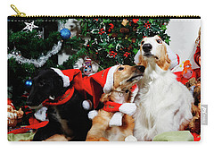 Carry-all Pouch featuring the photograph Borzoi Hounds Dressed As Father Christmas by Christian Lagereek