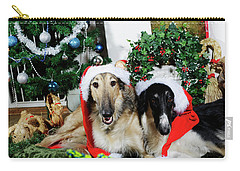 Carry-all Pouch featuring the photograph Borzoi Puppies Wishing A Merry Christmas by Christian Lagereek