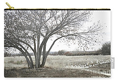 Carry-all Pouch featuring the photograph Bosque Tree Snow Geese by Andrea Hazel Ihlefeld