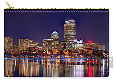 Carry-all Pouch featuring the photograph Boston Back Bay Skyline At Night 2017 Color Panorama 1 To 3 Ratio by Jon Holiday