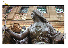 Carry-all Pouch featuring the photograph Boston Public Library Lady Sculpture by Joann Vitali