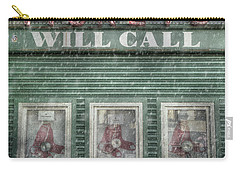Carry-all Pouch featuring the photograph Boston Red Sox Fenway Park Ticket Booth In Winter by Joann Vitali