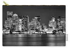 Boston Skyline At Night Panorama Black And White Carry-all Pouch