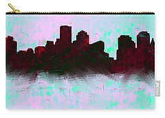 Boston Skyline Sky Blue  Carry-all Pouch by Enki Art