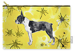 Carry-all Pouch featuring the painting Boston Terrier On Yellow by Zaira Dzhaubaeva