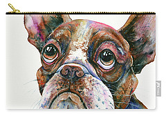 Carry-all Pouch featuring the painting Boston Terrier Watching A Soap Bubble by Zaira Dzhaubaeva