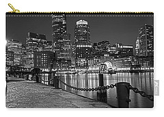 Boston Waterfront Boston Skyline Black And White Carry-all Pouch