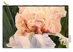 Carry-all Pouch featuring the painting  Botanical Peach Iris by Laurie Rohner