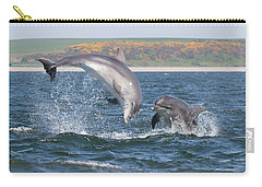 Carry-all Pouch featuring the photograph Bottlenose Dolphin - Moray Firth Scotland #49 by Karen Van Der Zijden