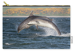 Carry-all Pouch featuring the photograph Bottlenose Dolphins - Moray Firth Scotland #47 by Karen Van Der Zijden