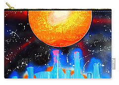 Carry-all Pouch featuring the painting Bottles And A Sun by Justin Moore