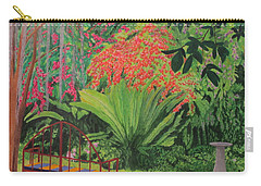 Carry-all Pouch featuring the painting Bougainvillea Garden by Hilda and Jose Garrancho